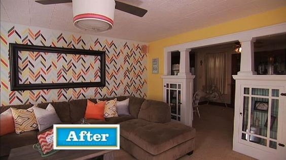 Stenciled Feature Wall on the Knock It Off television show/Live Well Network | Herringbone Shuffle Stencil