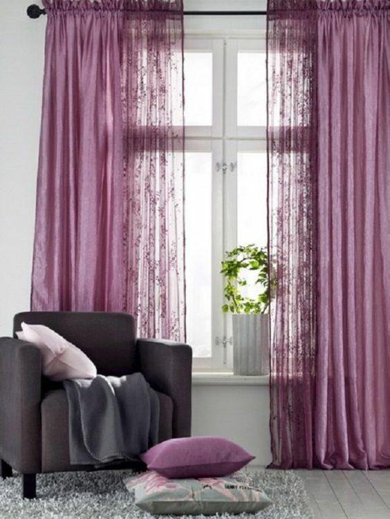 gardinenideen vorhänge fenster modern designer lila