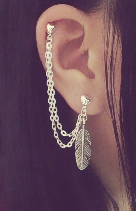 Feather Cartilage Chain Earrings. Want a cartilage chain earring