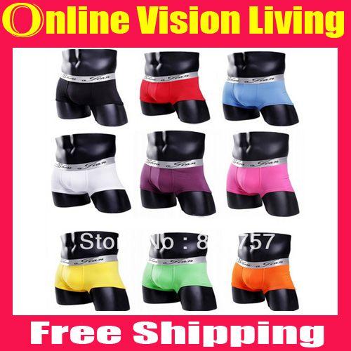 New arrival 93%Cotton-7%Spandex 10 Color Sexy Mens Boxer Shorts Men Boxers Men's underwear