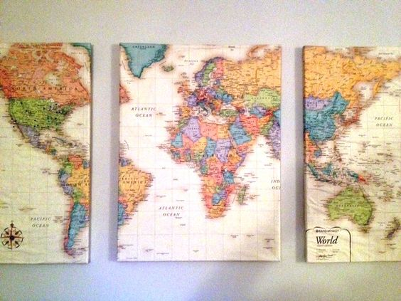 "{love this} Lay a world map over 3 canvas, cut into 3 pieces. Coat each canvas with Mod Podge and wrap the maps around them like presents. Let dry and hang on the wall about 2"" away from each other."