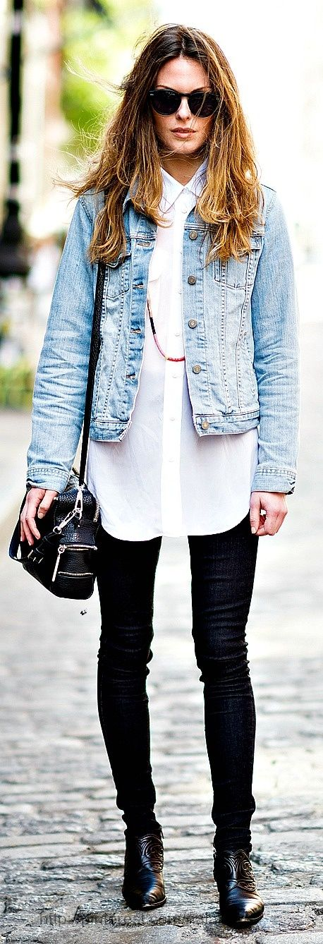 Stylish outfits tight jeans long white shirt and blue jeans jacket ...