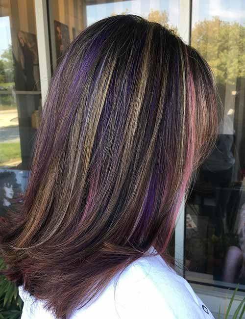 20 Pretty Purple Highlights Ideas For Dark Hair No More