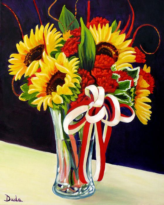 sunny day bouquet- 16x 20 oil painting cheery sunflowers and