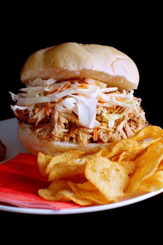 Slow Cooker Carolina Pulled Chicken BBQ| Bluegrassbites.com
