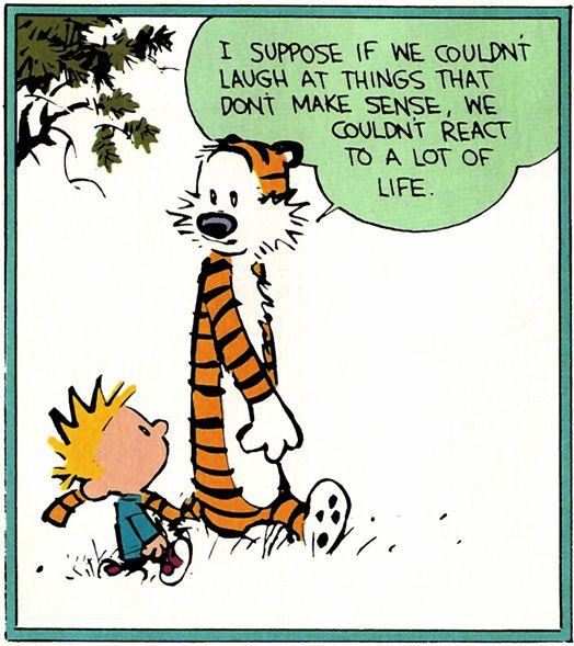 Calvin and Hobbes - I suppose if we couldn't laugh at things that don't make sense, we couldn't react to a lot of life.