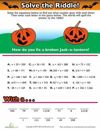 halloween algebra and middle school on pinterest. Black Bedroom Furniture Sets. Home Design Ideas