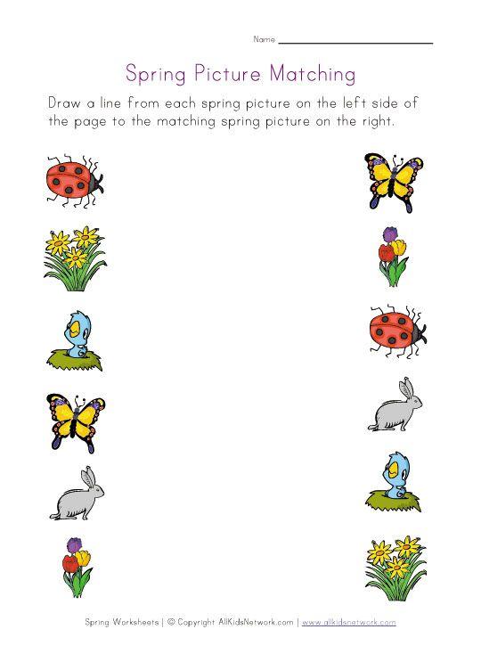 Spring Picture Matching Worksheet Spring Worksheet Spring Pictures Spring Preschool Matching preschool worksheets free