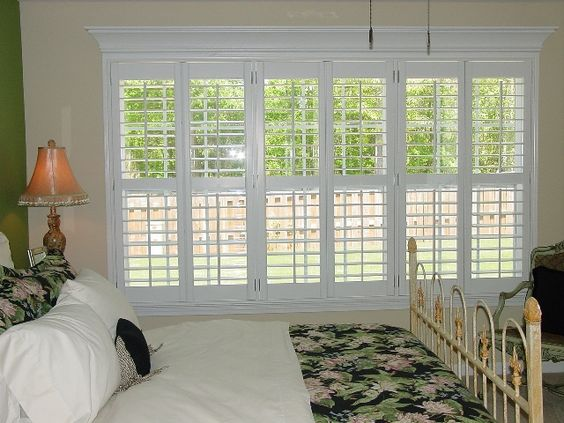 3 5 in plantation shutters triple window 3 pair with for Shutter window treatment ideas