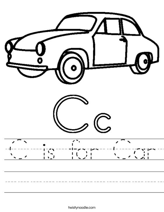 c is for car worksheet school ideas pre k pinterest worksheets handwriting and cars. Black Bedroom Furniture Sets. Home Design Ideas