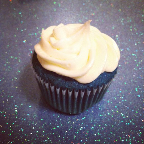 Blue velvet cupcakes with cream cheese frosting!