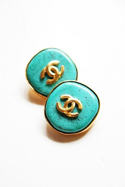 Vintage Chanel 90s Turquoise CC Logo Earrings