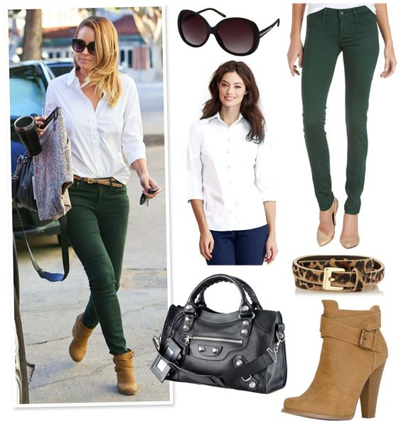 Lauren Conrad's Crisp White Shirt & Forest Green Skinny Jeans Look ...