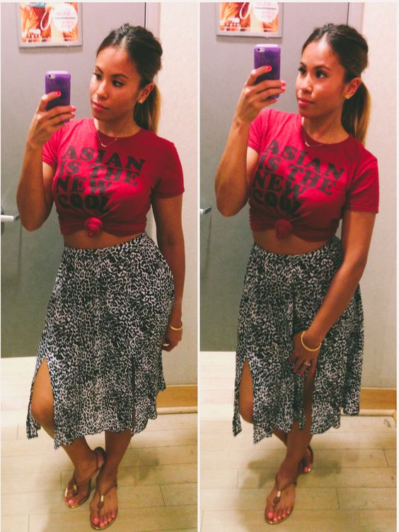 Leopard skirt | cropped tops | fashion trending style