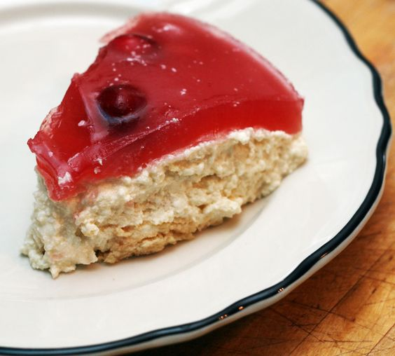 Sernik Na Zimno (Polish Cheesecake with Cranberry Topping)