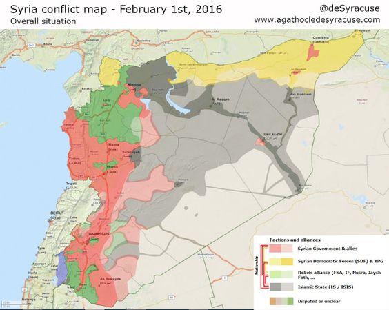 Aktuelle Lage in Syrien (1. Februar 2016) - Das östliche Aleppo ist umkämpft - Ansonsten kaum Änderungen seit September