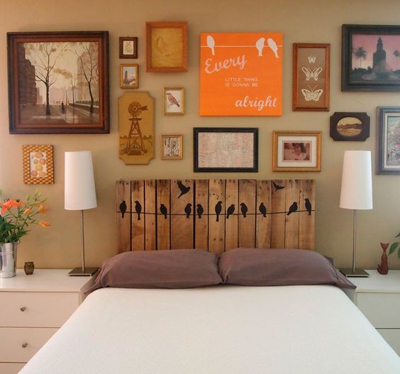 Headboard made of pallets:
