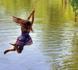 girl on swing above - photo #15