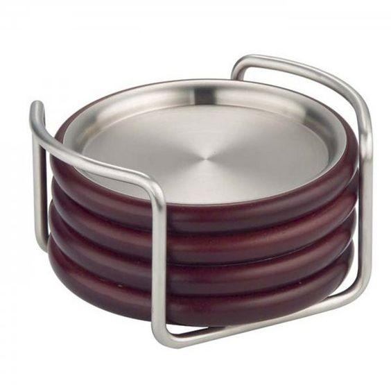 "Timbro Coasters - Set of Four (Satin Silver / Espresso) (2.75""H x 5""W x 4.75""D)"