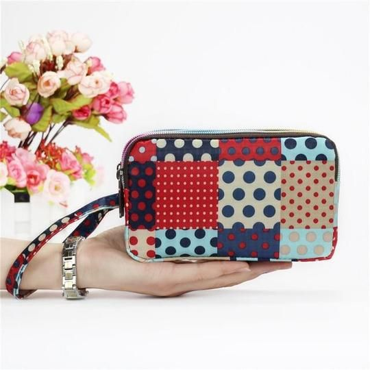 Coin Pouch Floral Pattern Design Canvas Coin Purse Cellphone Card Bag With Handle And Zipper