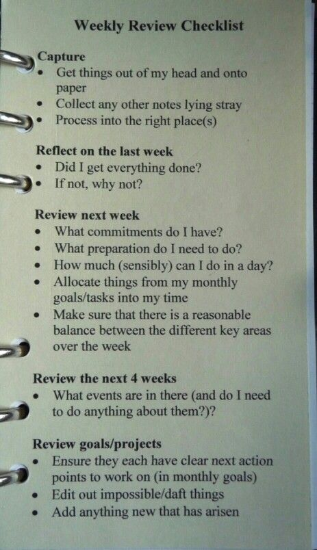 GTD Weekly Review Checklist