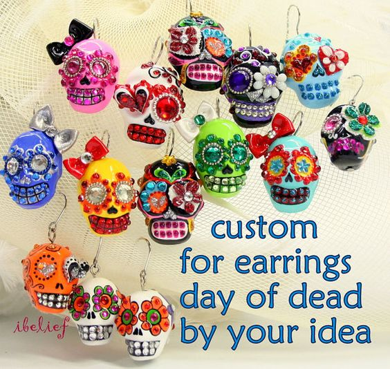 Custom for earrings day of dead to show your own idea by ibelief, $35.00