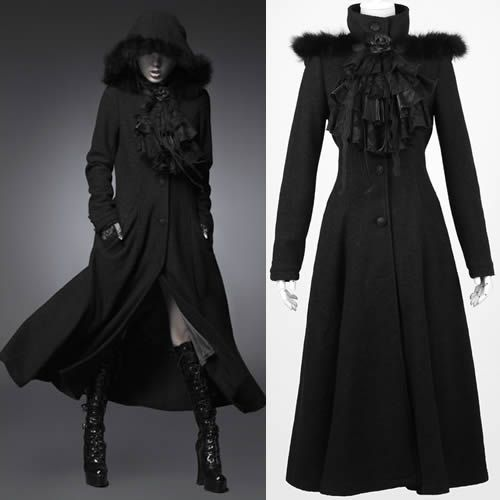 Women Black Wool Gothic Burlesque Fashion Hooded Overcoat Long Coats SKU-11401464