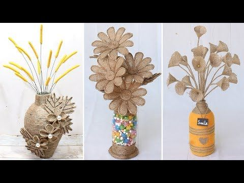 6 Beautiful Flower Vase Decoration Ideas With Jute Rope Home Decor Youtube Flower Vases Decoration Jute Flowers Burlap Flowers