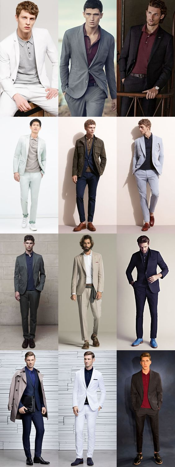 Men's Polo Shirts and Suits Outfit Inspiration Lookbook
