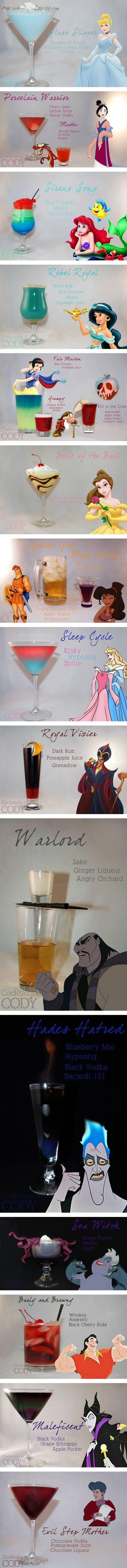 Disney princess themed cocktails. These will be served at my wedding considering I want a disney princess dress, princess cut ring, etc.: