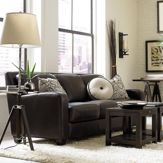 Classic Dark Brown Leather Sofa from Bassett: