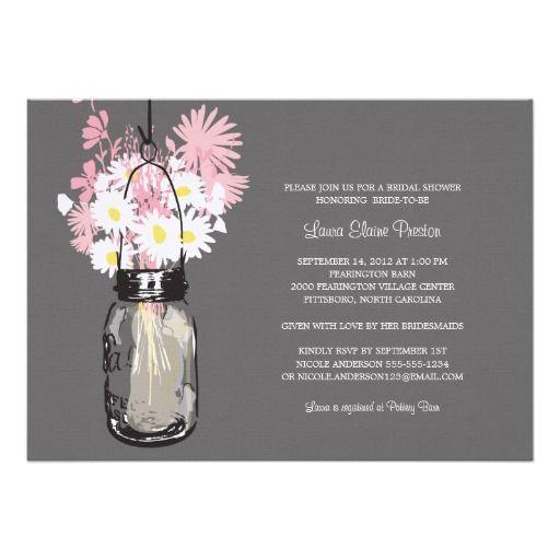 Bridal Shower Mason Jar and Wildflowers Invitations