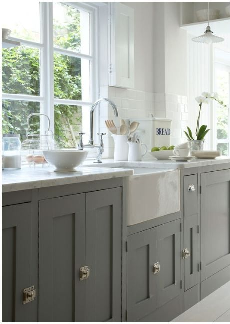 Farrow and Ball painted kitchen units, white belfast sink, white walls & floors. I absolutely adore these sinks!!