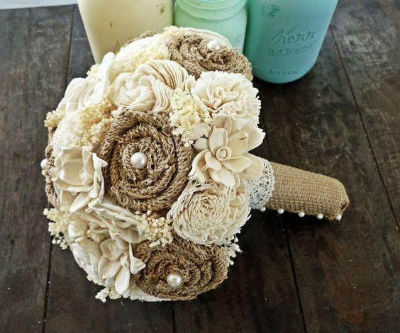 Custom Wedding Bouquet Burlap Sola Flower Eco Friendly Bridal Bouquet Natural Bouquet