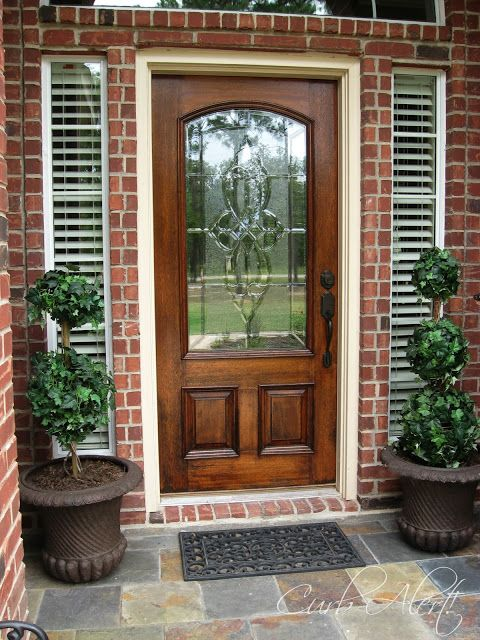 Exterior Doors Designed Glass With Dark Stained Wood Door And Blind Lights