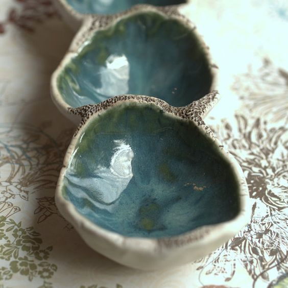 Water droplets porcelain tray.  Triple ring tray in teal and sepia.