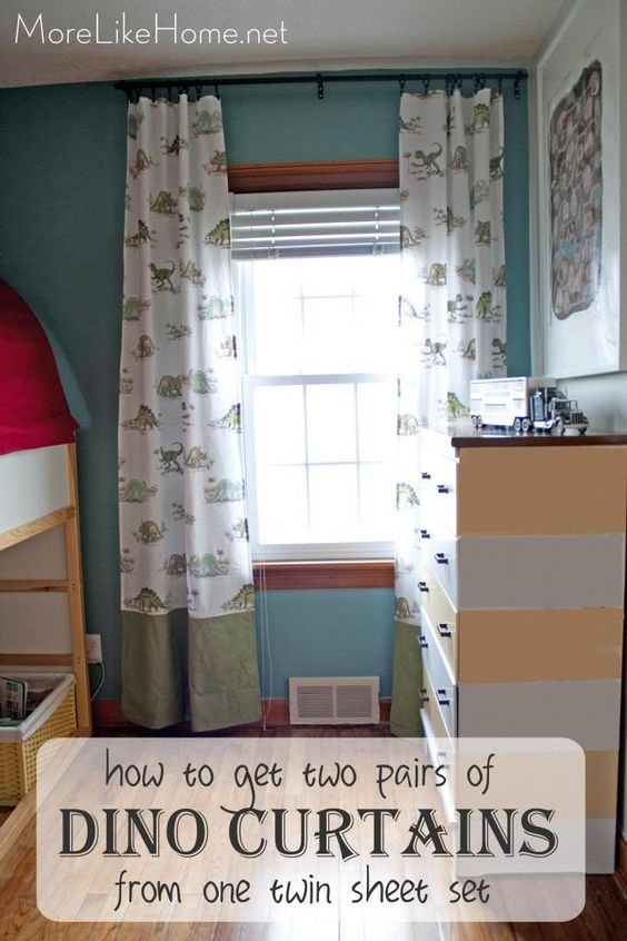 Curtains Ideas boys dinosaur curtains : Tutorial shows how to get two pairs of curtains from one twin ...
