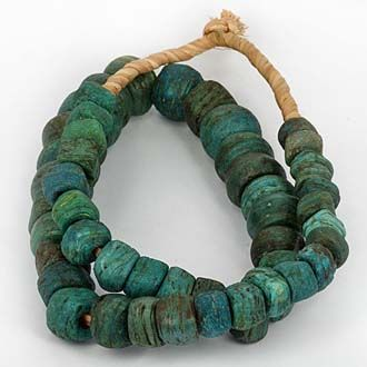 Antique Blue Hebron Glass BeadsMaterial:GlassOrigin:PalestineCondition:Robust Coarse Condition. Glass Decay EvidentAge:Est 200 - 800 Years