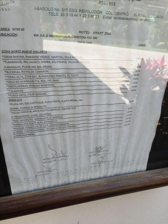 Hyatt Ziva Puerto Vallarta taxi rates to Nuevo Vallarta or South of Puerto Vallarta. Taken April 2016