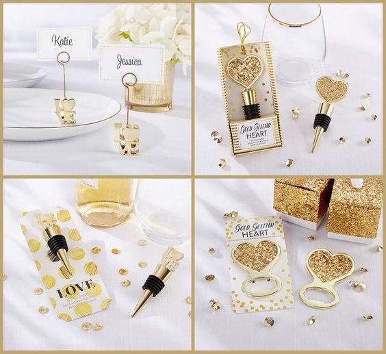 Gold Love and Heart Wedding Favors from HotRef.com