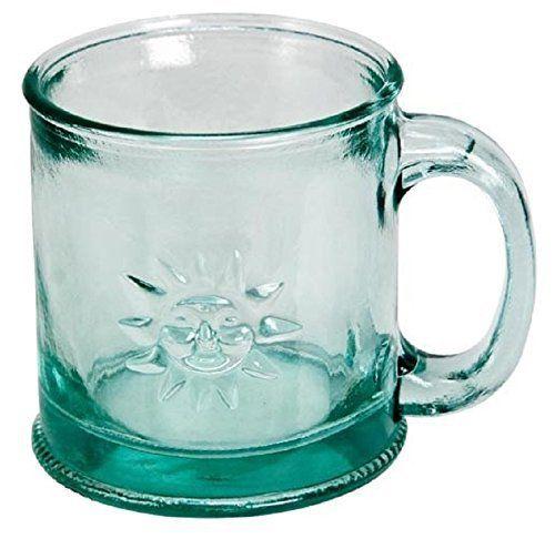 Down To Earth Clear Handmade Glass Sun Mug 10oz Pack Of 2 Mugs Recycled