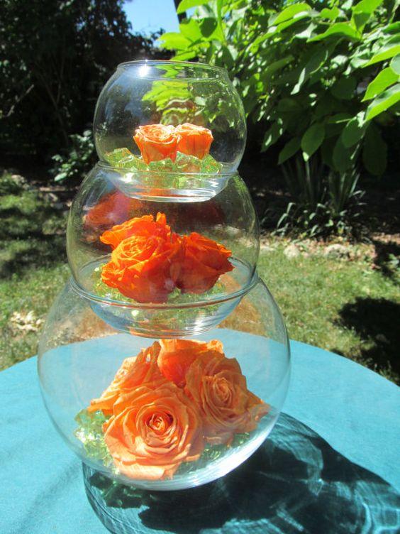 Wedding decor three tiered bubble vases with orange roses