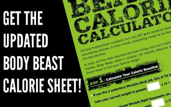 New Body Beast Calorie Calculations Workouts Pinterest Body - beast workout sheet