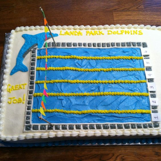 Cake ideas parks and swim on pinterest for Swimming pool birthday cake pictures