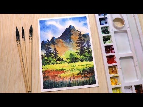 Watercolor Painting Of Beautiful Mountain Landscape Scenery Easy Youtube Scenery Paintings Watercolor Scenery Watercolor Paintings For Beginners