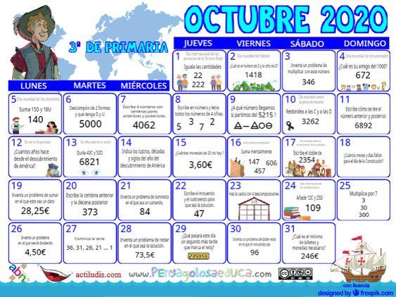 Calendario Tercero ABN – Octubre 2020