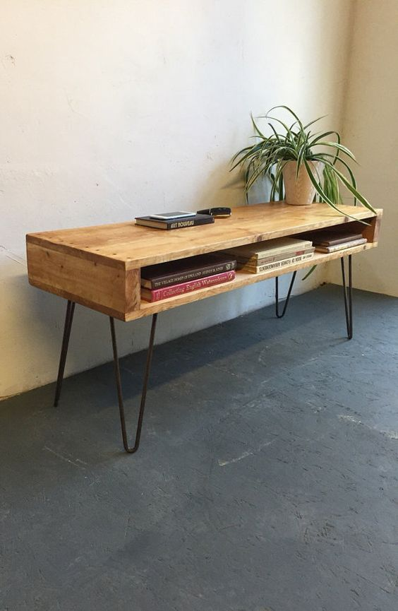 Oldfield High Mid Century Style Coffee Table Tv Stand On 30cm Hairpin Legs Stains Industrial