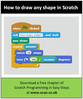 A set of 8 program cards for Scratch demos based on 10 blocks: how to add a timer, how to draw any regular shape, how to add a password, make a sprite explode, draw a circle, use a webcam...From Sean McManus