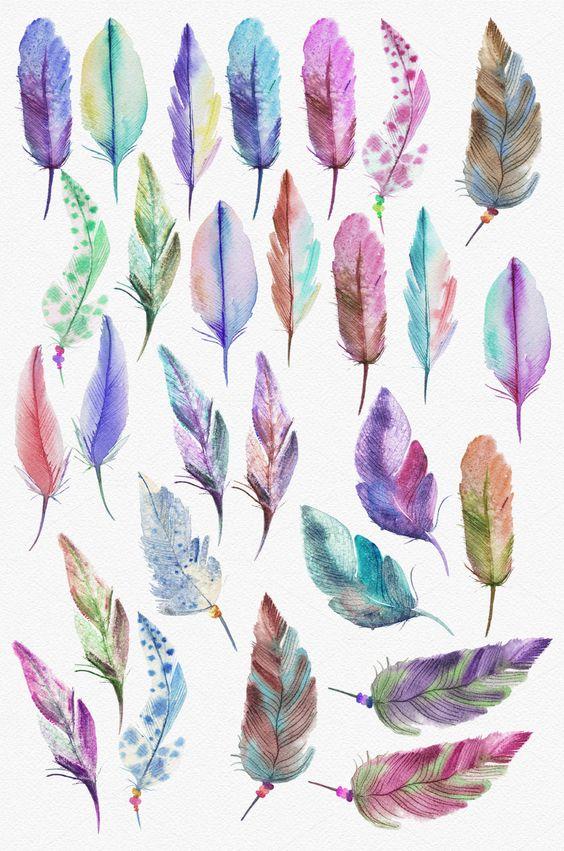 Watercolor feathers & dreamcatchers by Spasibenko Art on Creative Market