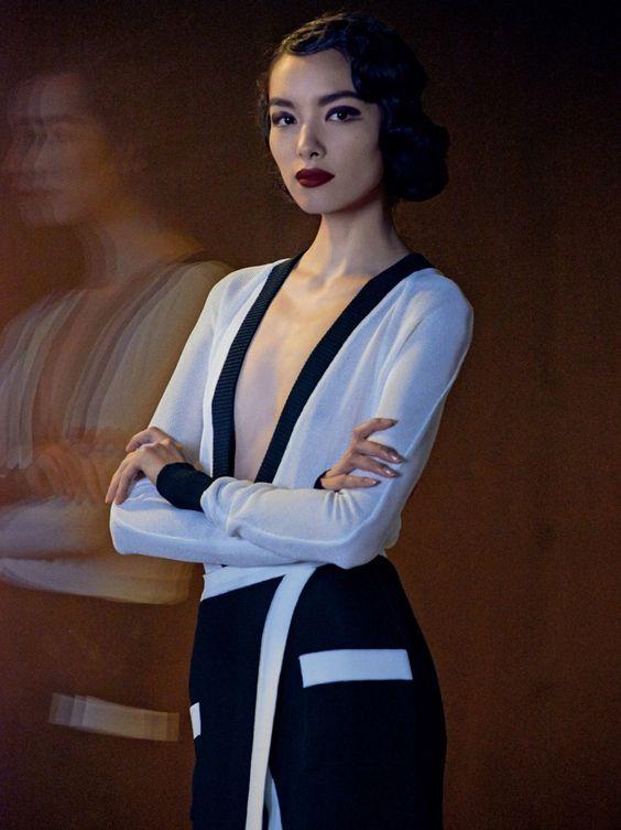 Fei Fei Sun by Peter Lindbergh for Vogue US March 2014  Balmain